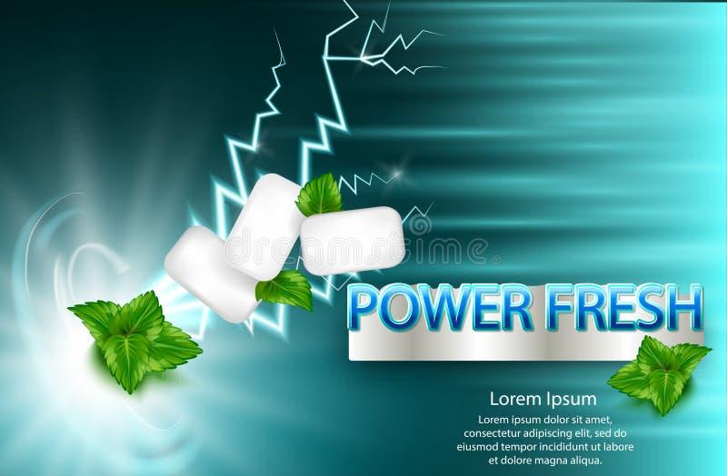 Anúncio da goma do sabor da hortelã com a hortelã da folha na luz - fundo azul, 3d ilustração do vetor