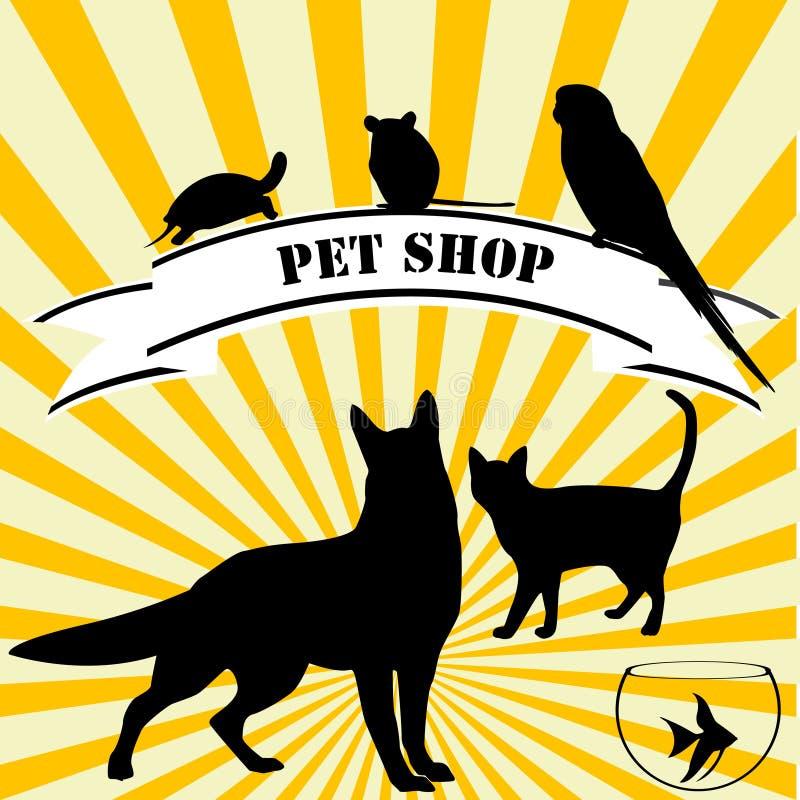 Anúncio da loja de animal de estimação ilustração do vetor