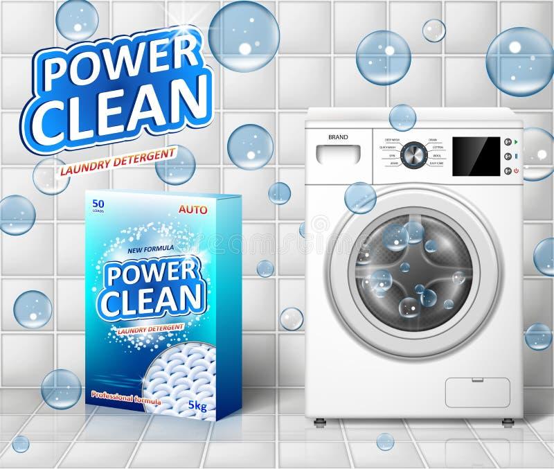 Anúncio da máquina de lavar Projeto da bandeira do removedor de mancha com máquina de lavar e pacote realísticos do detergente pa ilustração do vetor