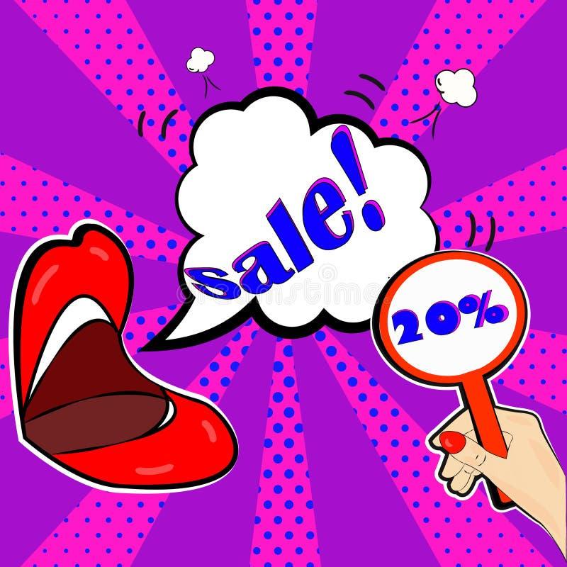 anúncio da promoção 20percent em um estilo brilhante do pop art imagens de stock royalty free