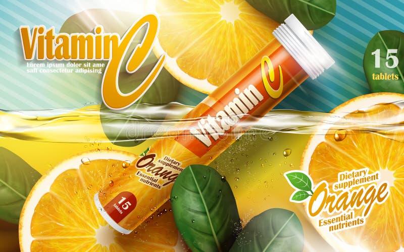 Anúncio da tabuleta de vitamina ilustração royalty free