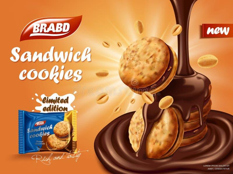 Anúncio das cookies do chocolate do sanduíche ilustração do vetor