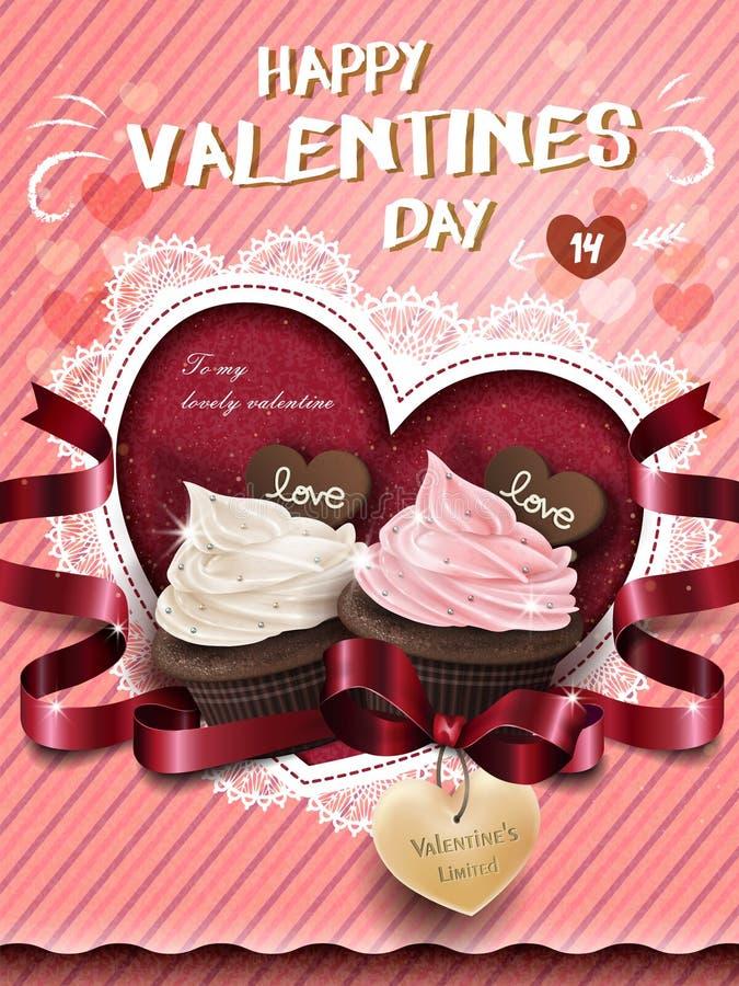 Anúncio de creme do queque do chocolate ilustração royalty free