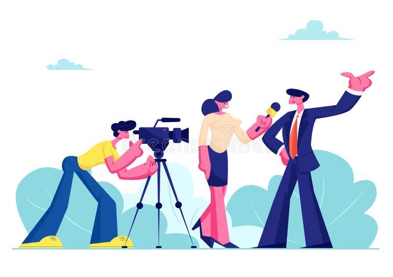 Anúncio de Live News, transmissão dos mass media de tevê com operador cinematográfico e repórter Journalista fêmea Taking Intervi ilustração royalty free