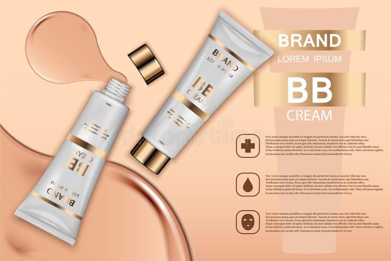 Anúncio de produtos cosmético do tonalizador da pele Ilustração do vetor 3d Projeto do molde da garrafa do creme de pele A cara e ilustração royalty free