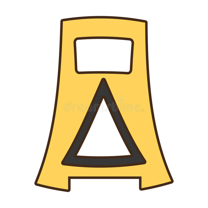 Anúncio do aviso da barreira dos desenhos animados cuidadoso ilustração do vetor