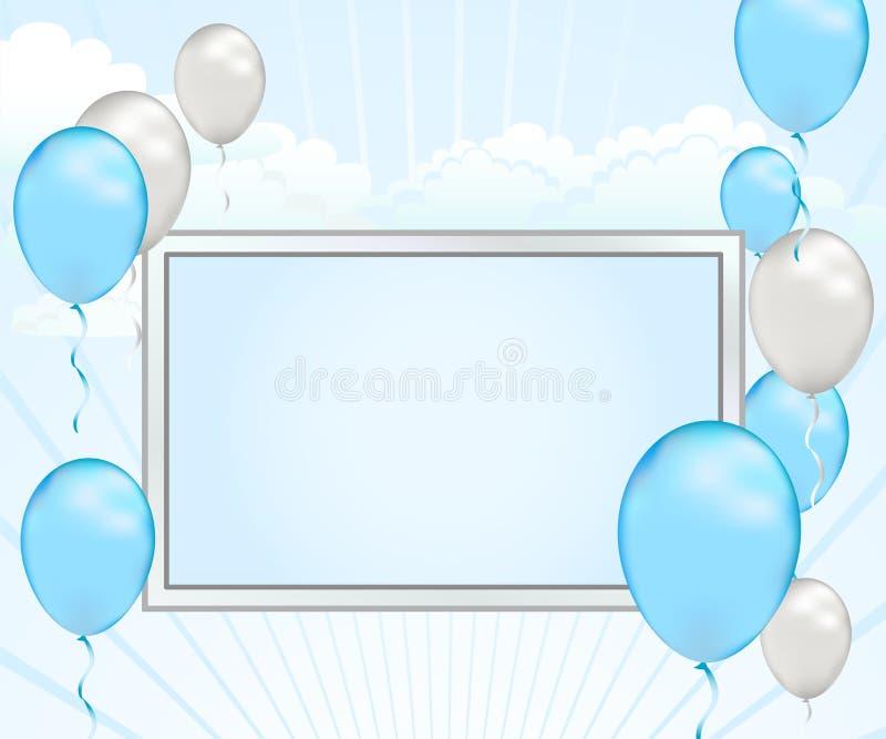 Anúncio do balão do azul de bebê ilustração royalty free