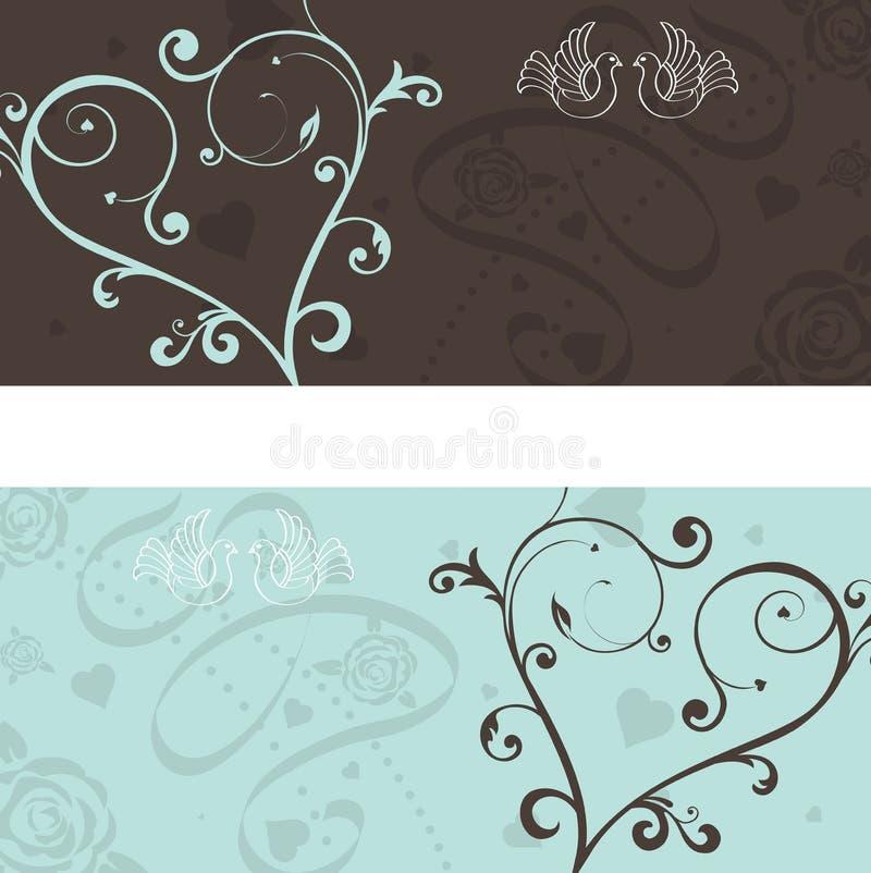 Anúncio do casamento com pombas ilustração royalty free