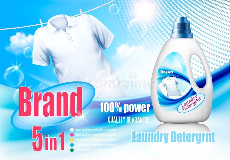 Anúncio do detergente para a roupa Molde do projeto ilustração royalty free