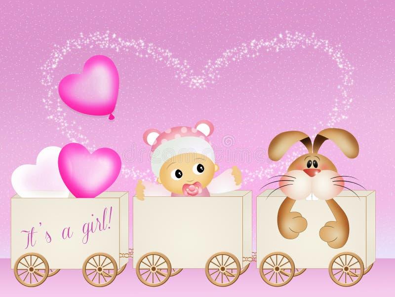 Anúncio do nascimento do bebê ilustração stock