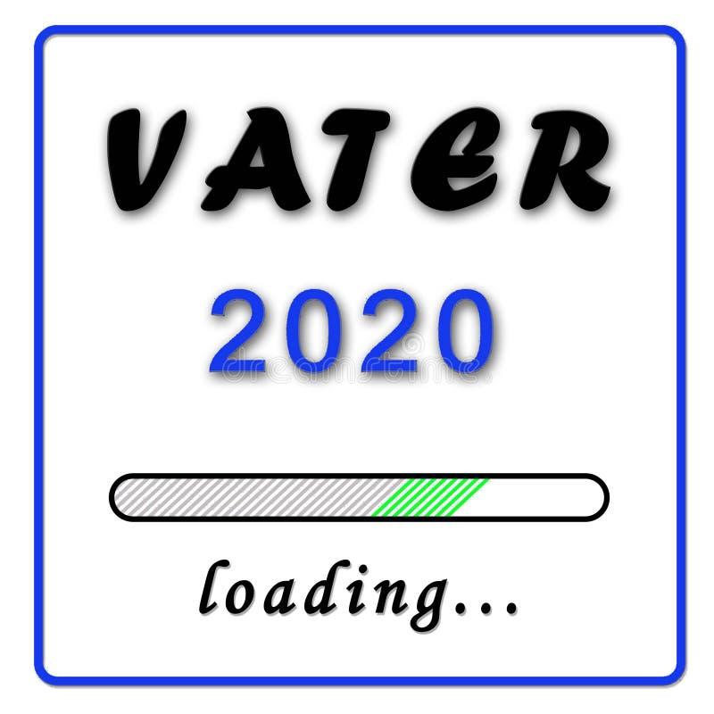 Anúncio do nascimento - pai no azul alemão de Vater 2020 no fundo branco ilustração do vetor