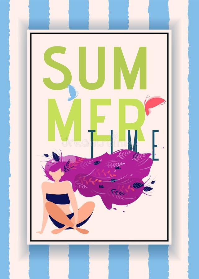 Anúncio listrado das horas de verão com mulher bonita ilustração do vetor