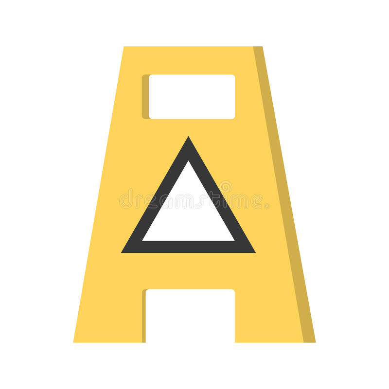 Anúncio molhado vazio do aviso do assoalho cuidadoso ilustração stock