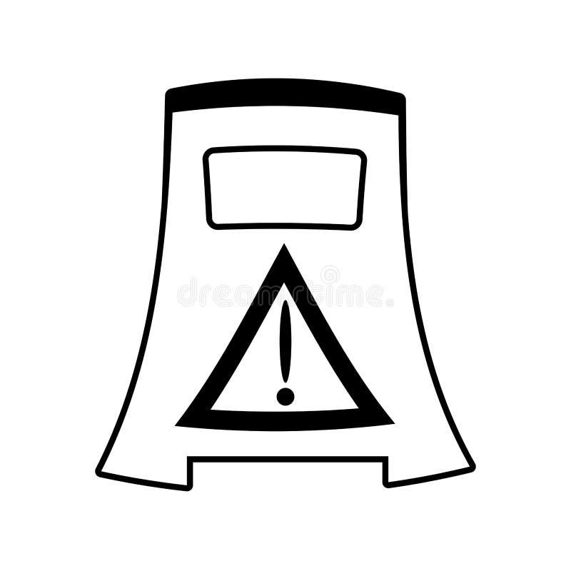Anúncio molhado vazio do aviso do assoalho do esboço cuidadoso ilustração do vetor