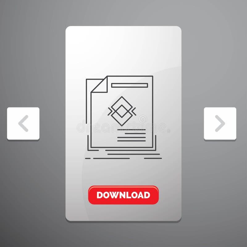 anúncio, propaganda, folheto, compartimento, linha ícone da página no projeto do slider das paginações do Carousal & botão vermel ilustração stock