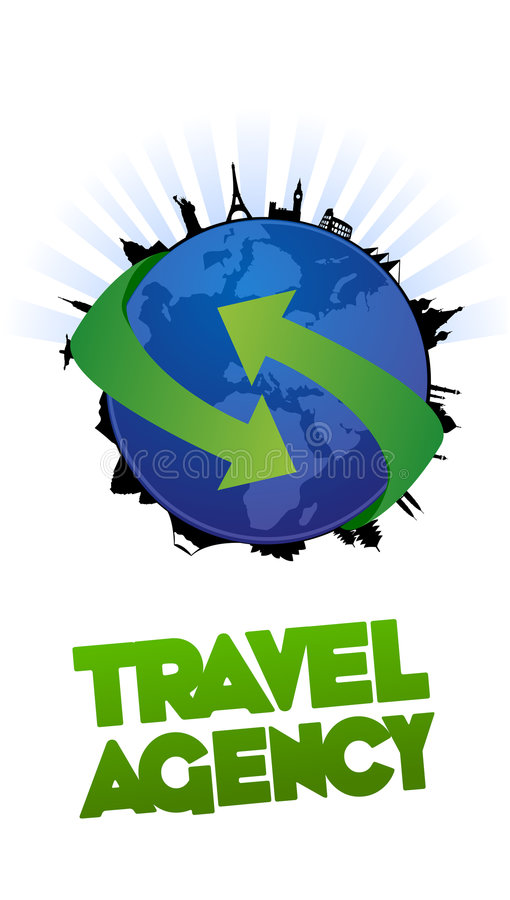 Anúncio publicitário do projeto da agência de viagens ilustração stock