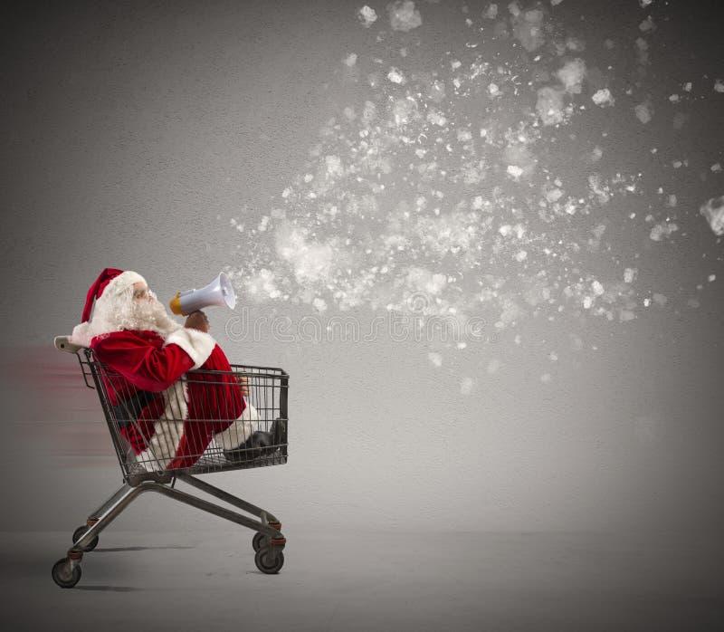 Anúncio rápido de Santa Claus foto de stock
