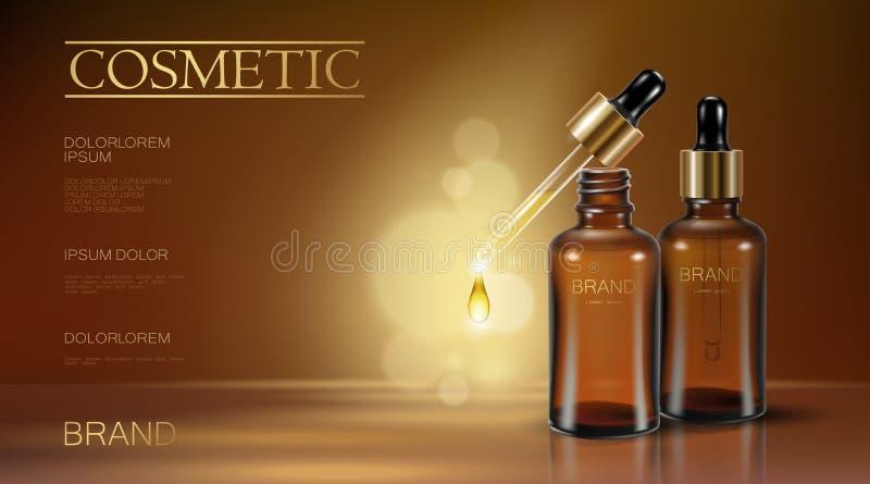 Anúncio realístico do cosmético da garrafa da essência 3d Pipeta de queda da gota do óleo Soro da vitamina do colagênio do tratam ilustração royalty free