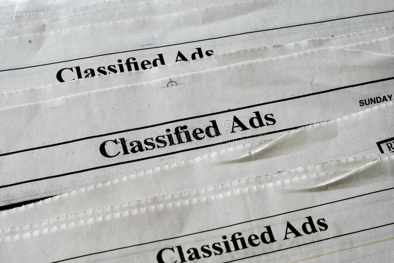 Anúncios classific fotografia de stock