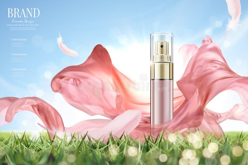 Anúncios cosméticos do pulverizador ilustração do vetor