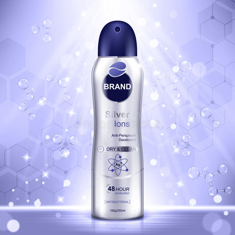Anúncios cosméticos molde, garrafa do desodorizante com moléculas roxas e elementos do brilho no fundo ilustração stock