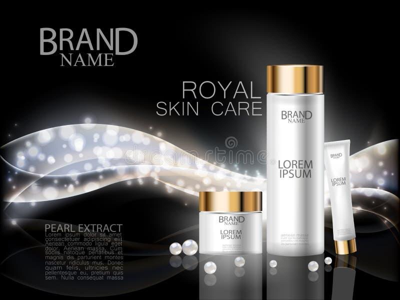 Anúncios cosméticos superiores Do extrato real da pérola do cuidado da cara a garrafa luxuosa branca e o creme na onda brilhante  ilustração royalty free