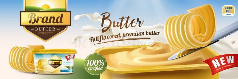 Anúncios cremosos da manteiga ilustração royalty free