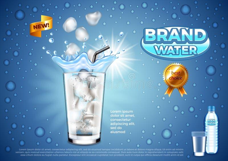 Anúncios da água Cubos de gelo que caem no fundo de vidro do vetor ilustração royalty free