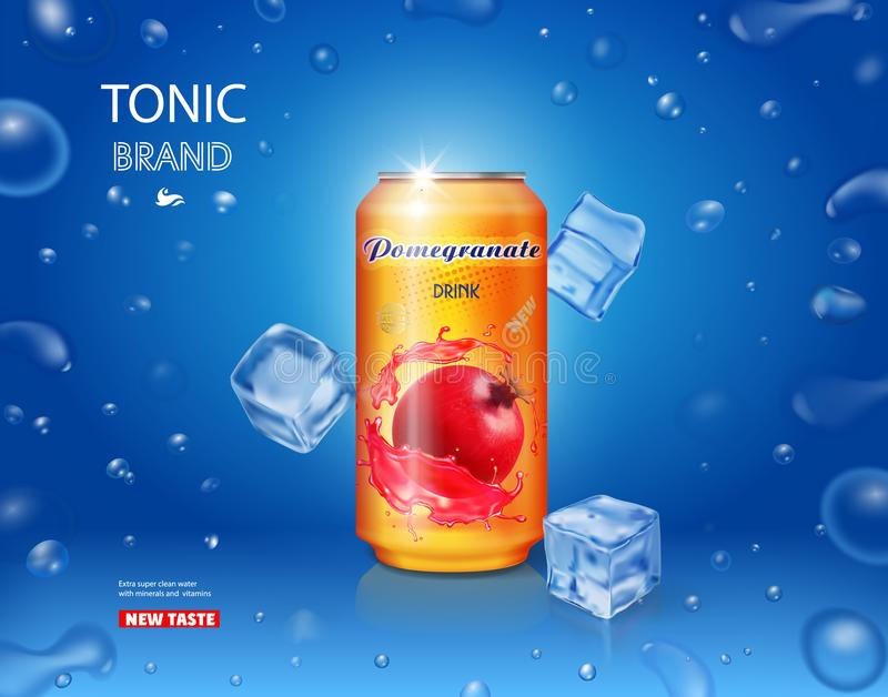 Anúncios da bebida da romã em uma lata de lata de alumínio com ilustração do gelo ilustração do vetor