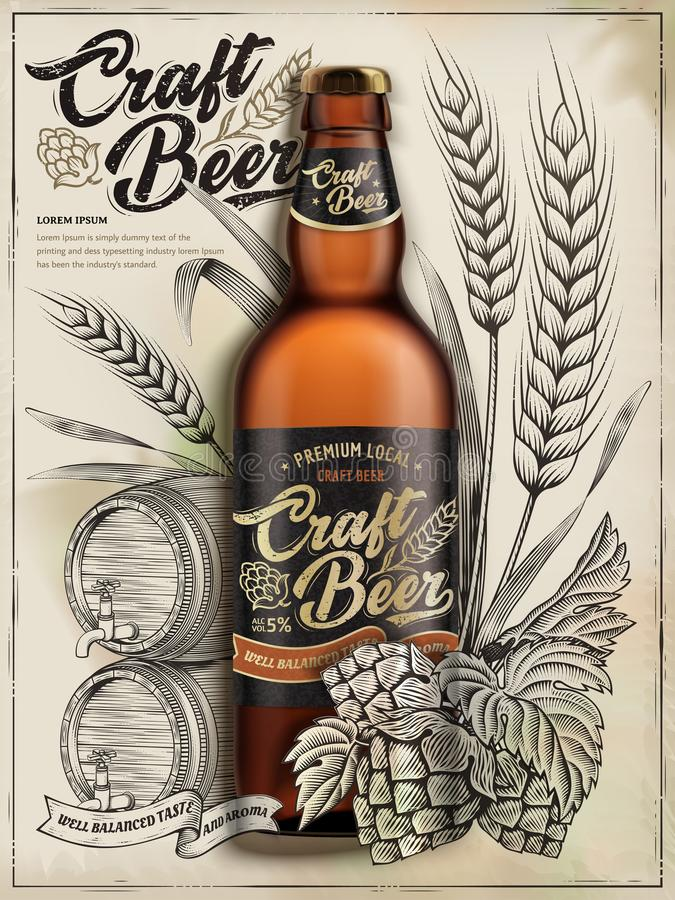Anúncios da cerveja do ofício ilustração stock