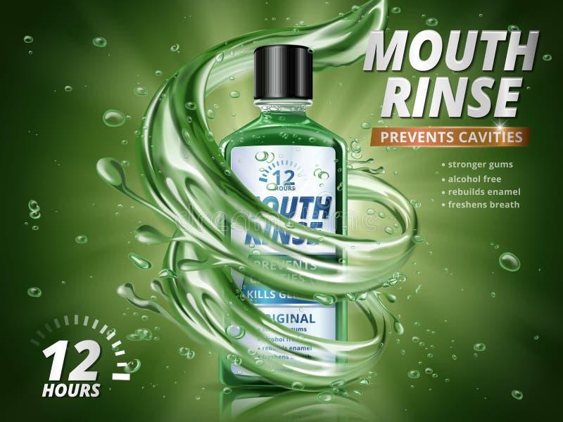 Anúncios da lavagem de boca ilustração stock