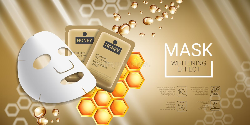 Anúncios da máscara dos cuidados com a pele do mel Vector a ilustração com o mel que alisa a máscara e o empacotamento ilustração do vetor