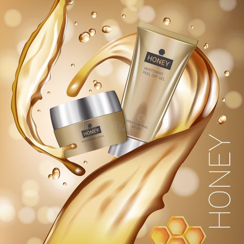 Anúncios da série dos cuidados com a pele do mel Vector a ilustração com o mel que alisa o tubo e o recipiente de creme ilustração royalty free