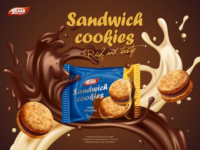 Anúncios das cookies do sanduíche ilustração do vetor
