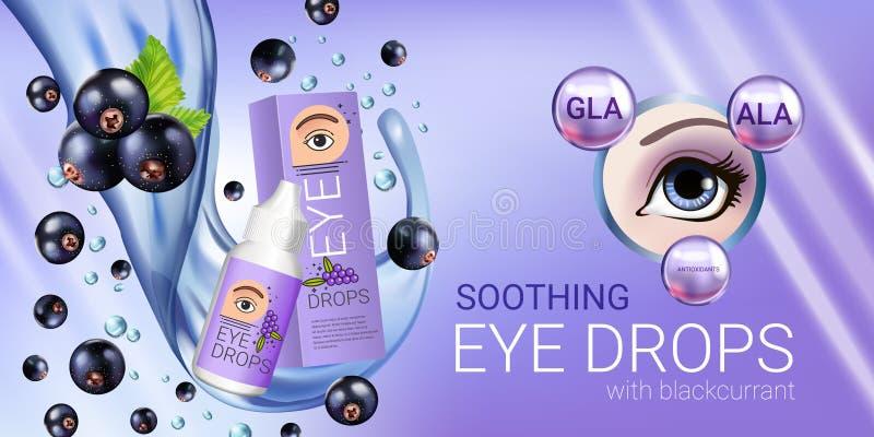 Anúncios das gotas de olho do corinto preto Vector a ilustração com o colírio em elementos da garrafa e da groselha ilustração royalty free