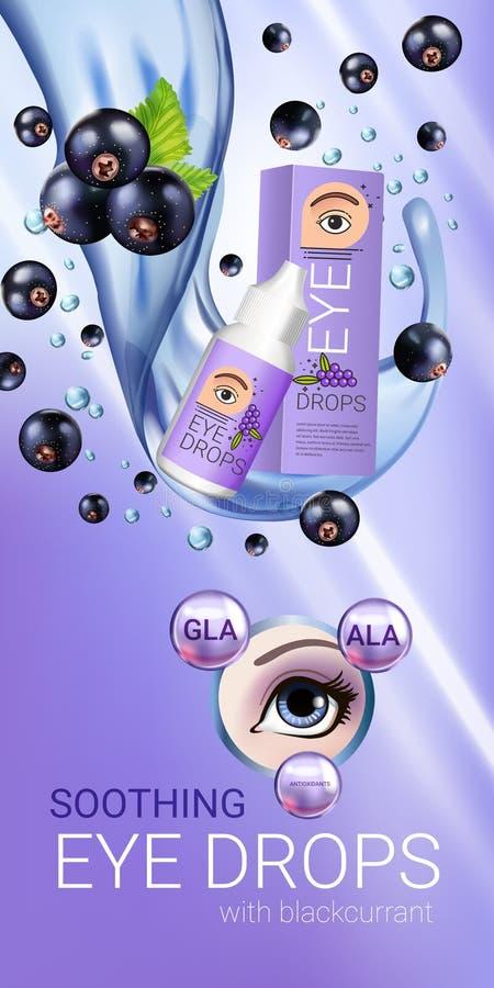 Anúncios das gotas de olho do corinto preto Vector a ilustração com o colírio em elementos da garrafa e da groselha ilustração stock