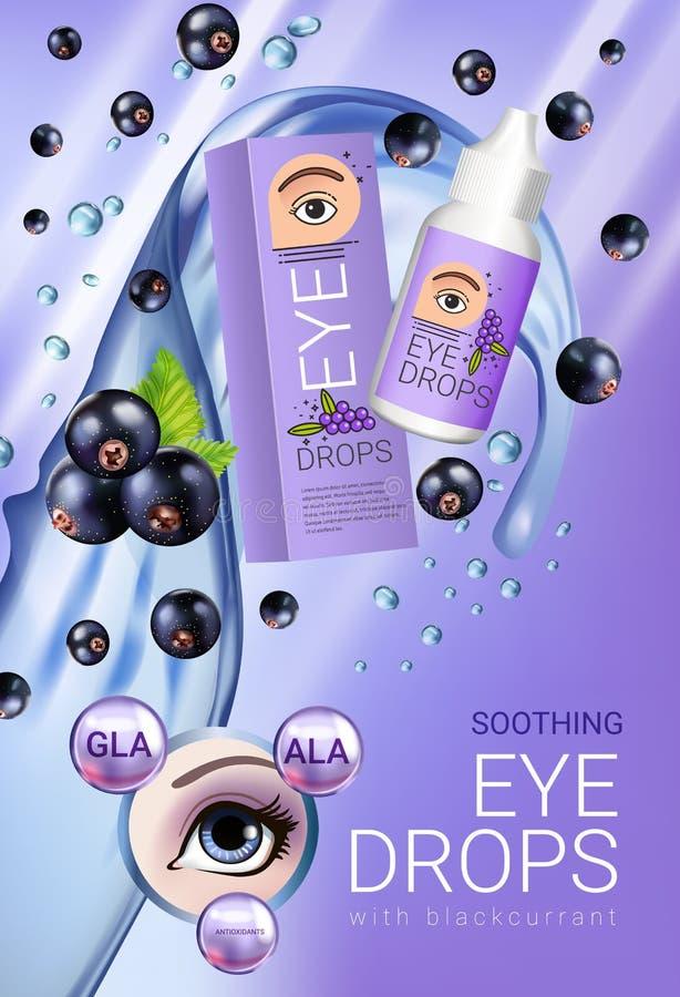 Anúncios das gotas de olho do corinto preto Vector a ilustração com o colírio em elementos da garrafa e da groselha ilustração do vetor