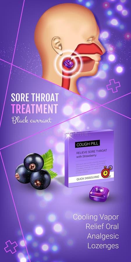 Anúncios das gotas de tosse dos salões Vector a ilustração 3d com os comprimidos da groselha para a garganta ilustração do vetor