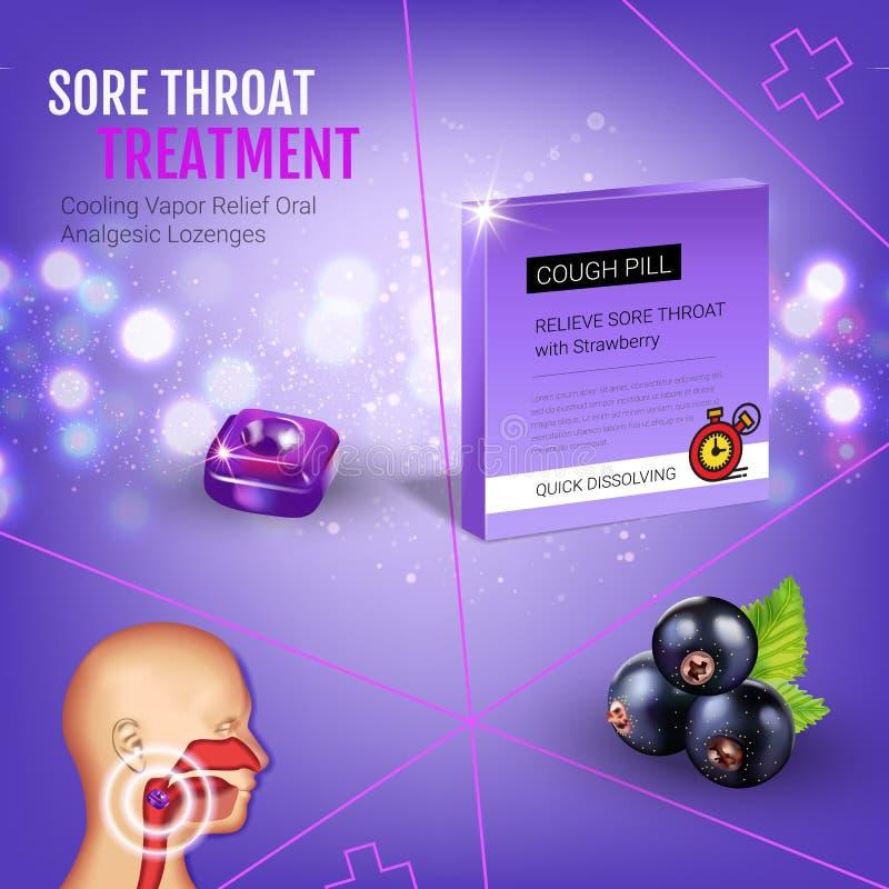 Anúncios das gotas de tosse dos salões Vector a ilustração 3d com os comprimidos da groselha para a garganta ilustração royalty free