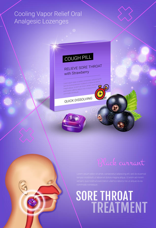 Anúncios das gotas de tosse dos salões Vector a ilustração 3d com os comprimidos da groselha para a garganta ilustração stock