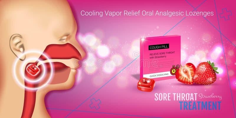 Anúncios das gotas de tosse dos salões Vector a ilustração 3d com os comprimidos da morango para a garganta ilustração stock
