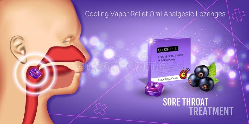 Anúncios das gotas de tosse Vector a ilustração 3d com os comprimidos da groselha para a garganta ilustração do vetor