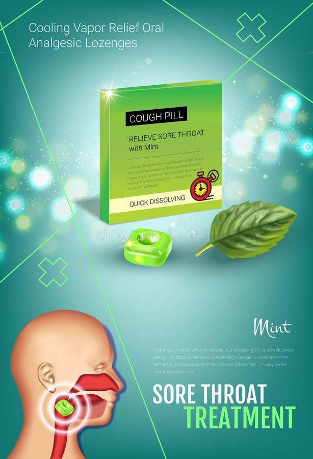 Anúncios das gotas de tosse Vector a ilustração 3d com os comprimidos da hortelã para a garganta ilustração stock