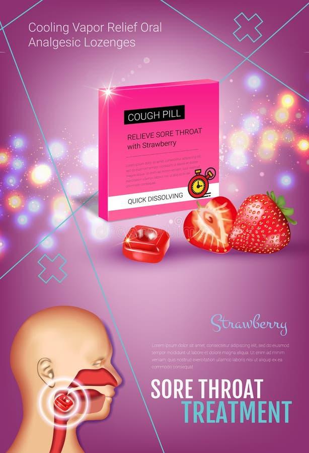 Anúncios das gotas de tosse Vector a ilustração 3d com os comprimidos da morango para a garganta ilustração royalty free