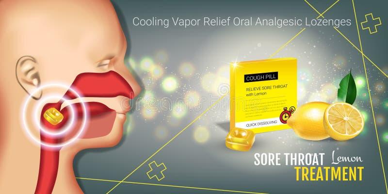 Anúncios das gotas de tosse Vector a ilustração 3d com os comprimidos do limão para a garganta ilustração stock