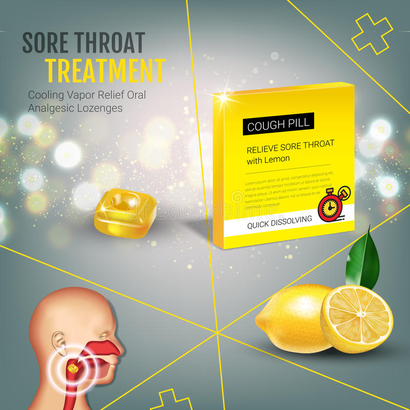 Anúncios das gotas de tosse Vector a ilustração 3d com os comprimidos do limão para a garganta ilustração royalty free