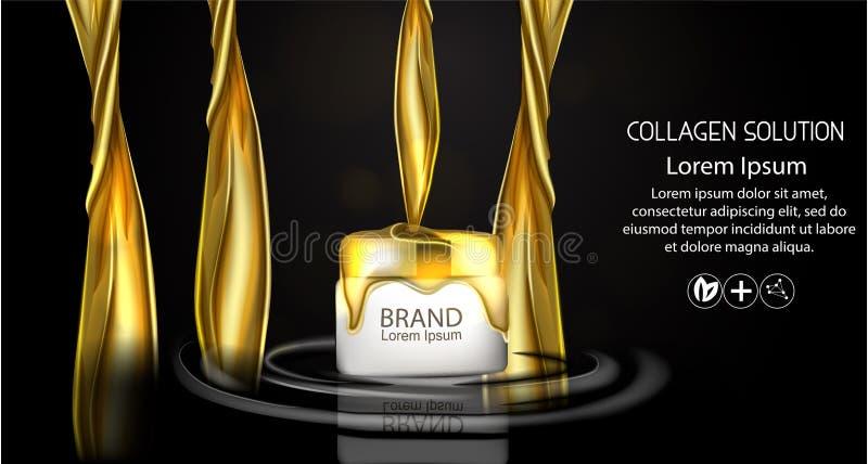 Anúncios de creme cosméticos dos cuidados com a pele do pacote do óleo dourado Vetor realístico da ilustração do molde 3d Produto ilustração do vetor