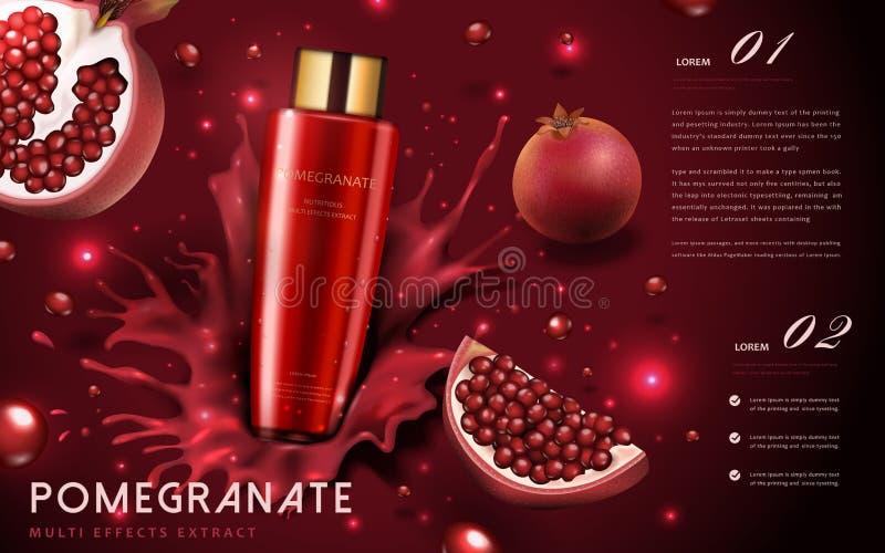 Anúncios de creme da romã ilustração stock