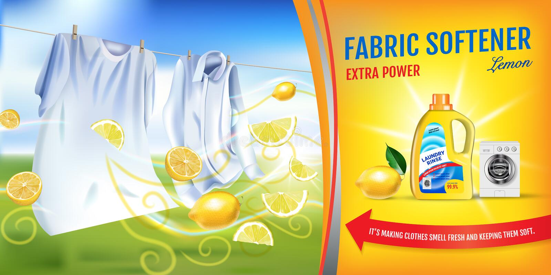 Anúncios do gel do emoliente da tela da fragrância do limão A ilustração realística do vetor com roupa da lavanderia e o emolient ilustração do vetor