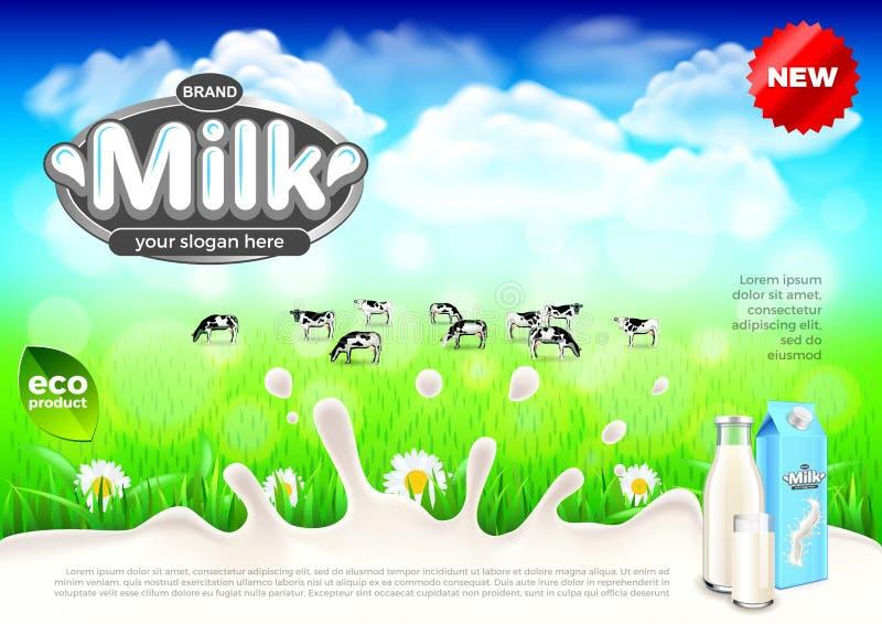 Anúncios do leite Vacas no fundo verde do vetor da exploração agrícola do campo ilustração stock